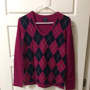 Tommy Hilfiger Argyle Sweater Sz. M Pink and Navy